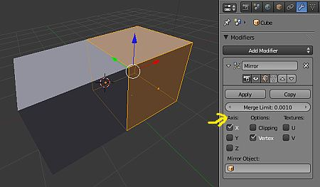 how to stop mirroring on blender